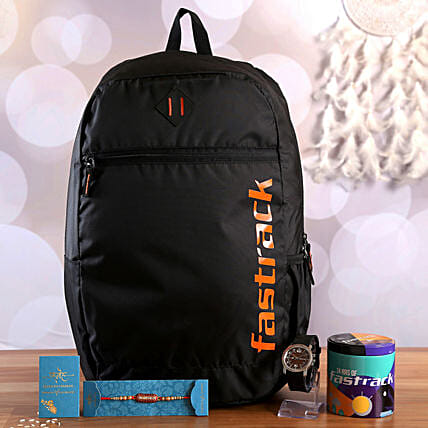 Traditional Capsule Rakhi With Fastrack Backpack and Watch