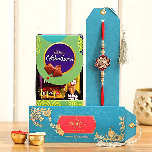 Traditional Design Rakhi and Chocolates:All Rakhi