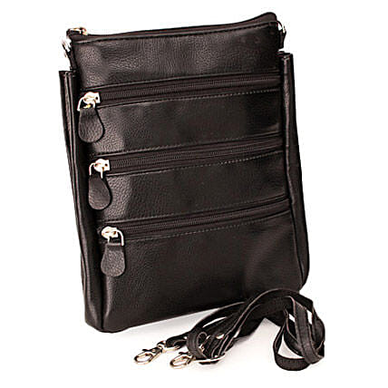 Travel Smartly-Black Leather Travel Bag 9 inches:Send Gifts for 18th Birthday