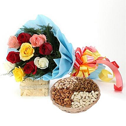 Combo of multi colored roses bouquet and dry fruits