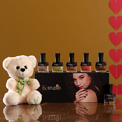 nail paint set with teddy combo:Soft toys to Ghaziabad