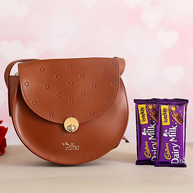 Trendy Sling Bag Cadbury Crackle:Ilina Gift Sets