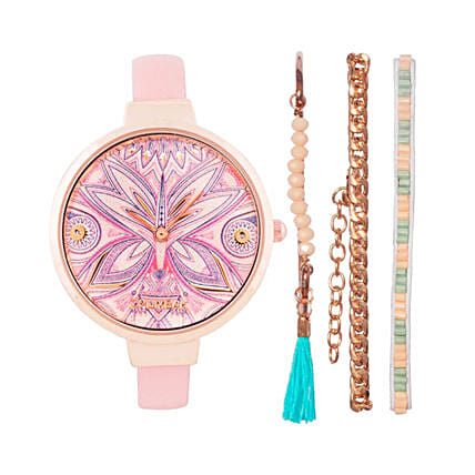 Trippy Insect Beige And Gold Watch With Bracelet Set