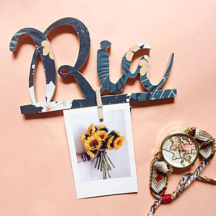 Wooden Name Cutout with Key Hanger:Handicrafts