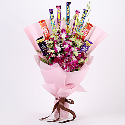 Chocolate Bar Bouquet with Orchids womens day women day woman day women's day