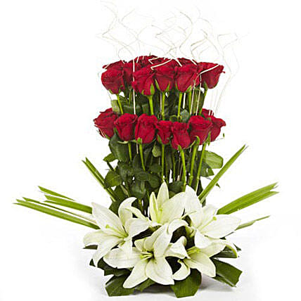 True Love - Arrangement of 30 red roses with 3 Asiatic lilies.
