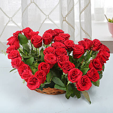 Red rose arrangement:Heart Shaped Flowers