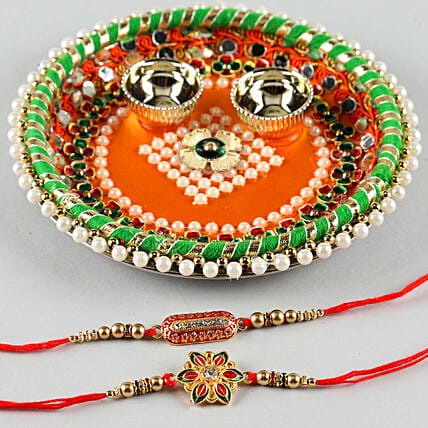 Two Elegant Rakhis With Pooja Thali:Send Pooja Thali to Ludhiana