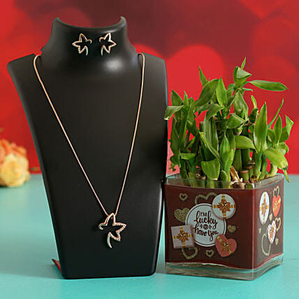 Two Layer Bamboo In Sticker Vase With Pendant & Earrings Hand Delivery:Plant Combo For Valentines Day