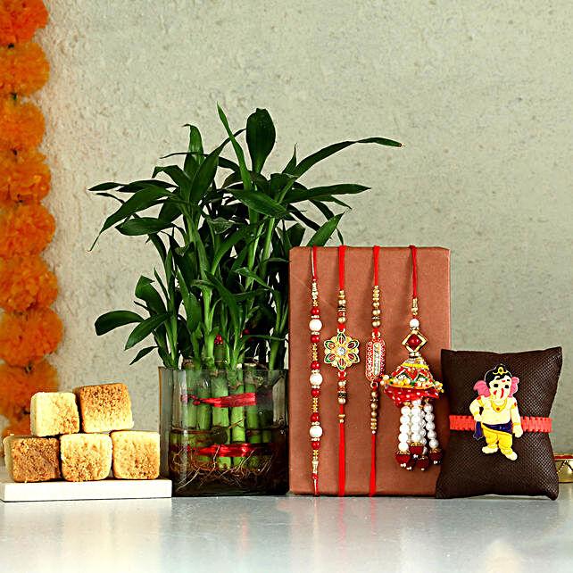 Two Layer Bamboo & Set of 5 Rakhis With Milk Cake