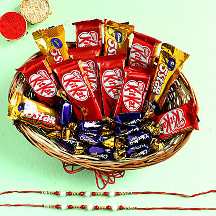 Two Pearl Rakhis & Chocolate Basket