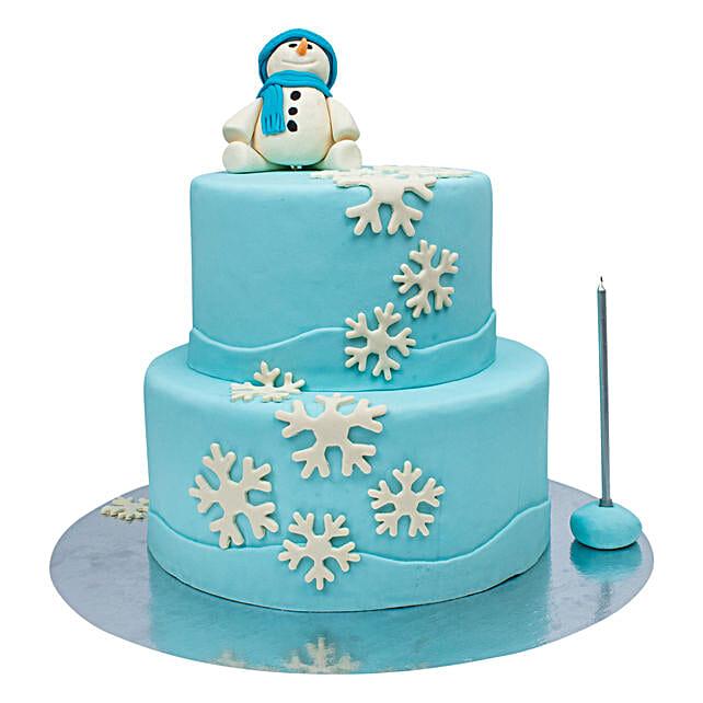 OnlineTwo Tier Snowman Truffle Cake