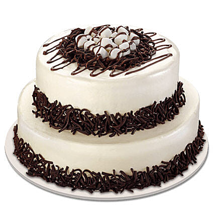 Two Tier Fondant Cream Cake with Chocolate Drizzles:2 Tier Cake