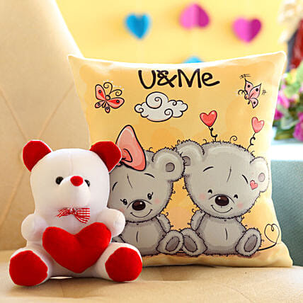 Teddy and Cushion Combo For Teddy Day:Send Soft toys to Faridabad