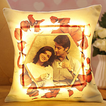 V Day Personalised LED Cushion Hand Delivery:Customised Pillow