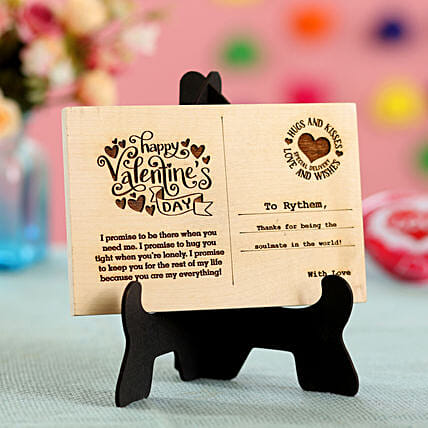wooden postcard for valentines day
