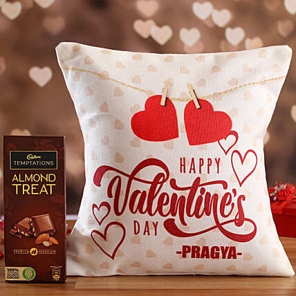 V Day Personalised White Cushion and Cadbury Temptations Hand Delivery:Personalised Gifts Combo for Valentine's Day