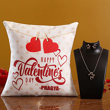V Day Personalised White Cushion and Necklace Set Hand Delivery:Valentines Day Jewellery