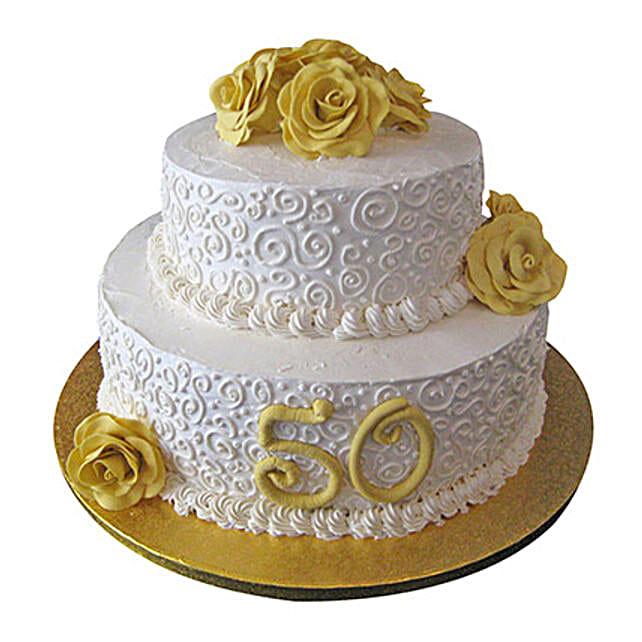 2 Tier Anniversary Fondant Cake Vanilla 3kg Eggless