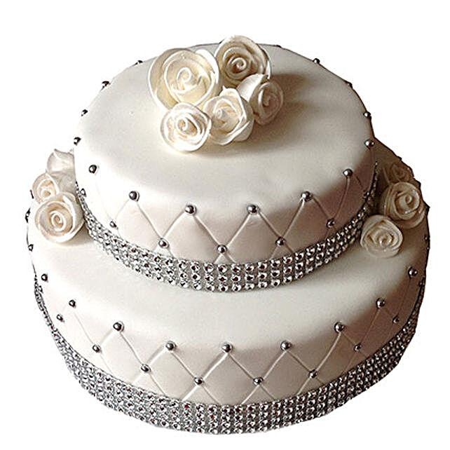 2 Tier Designer Fondant Cake Vanilla 3kg Eggless