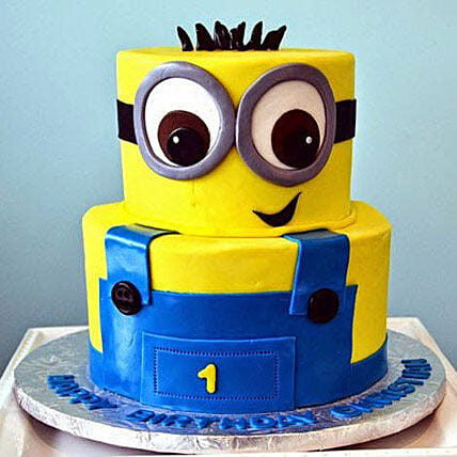 Minion 3d Cartoon Cake for 1st Birthday 3kg