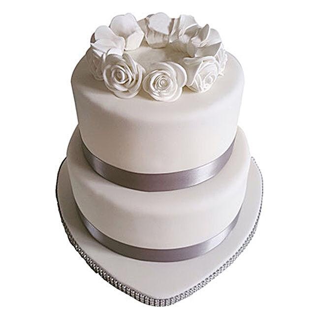 2 Tier White Fondant Cake Vanilla 4kg