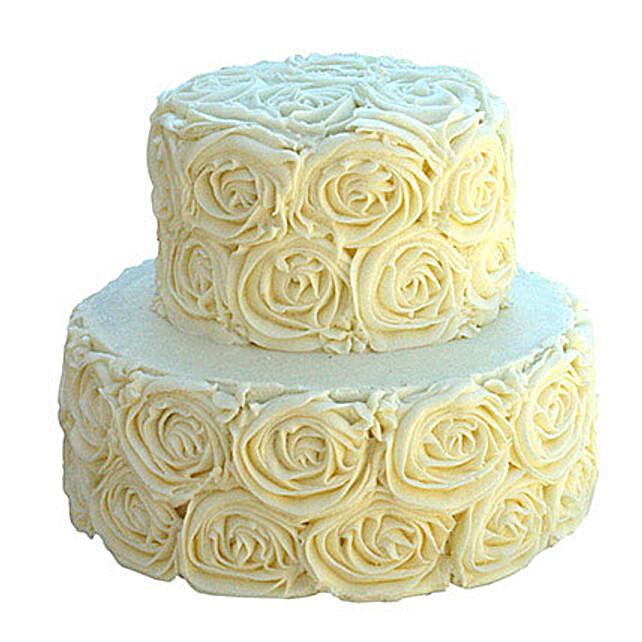 2 Tier White Rose Cake Truffle 3kg