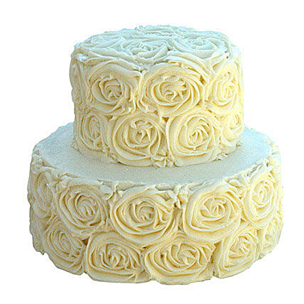 2 Tier White Rose Cake Vanilla 3kg Eggless