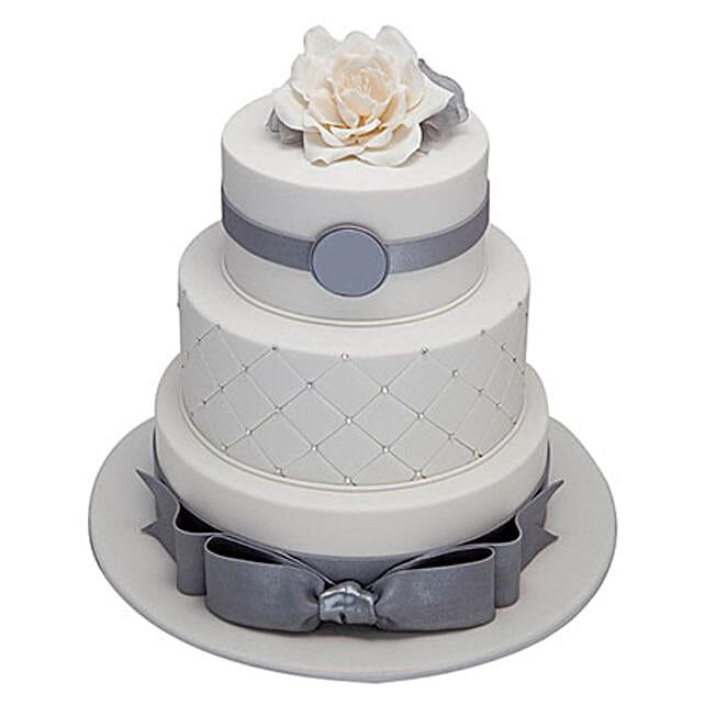 3 Tier Silver Anniversary Cake Vanilla 5kg Eggless