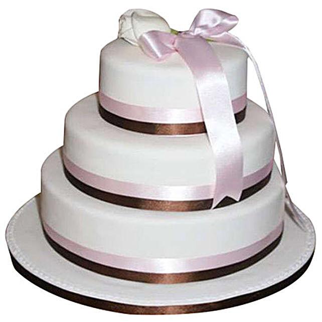3 Tier White Fondant Cake Black Forest 5kg