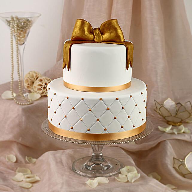 50th Anniversary Fondant 2 Tier Cake Vanilla 5kg