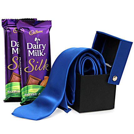 A Gentleman Dad-1 blue colored tie,2 Dairy Milk Silk Almond chocolates 60 grams each