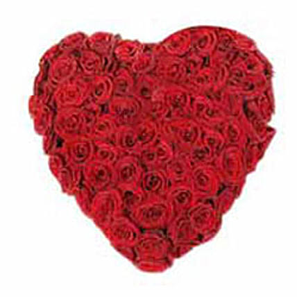 A Innocent Heart - Heart shaped Arrangement of 100 Red Roses.