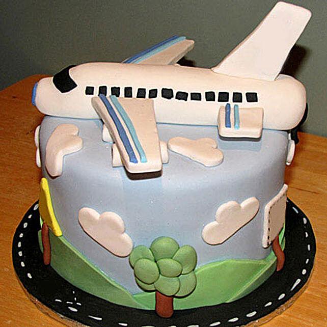 Airplane Fondant Cake 3kg Eggless Chocolate