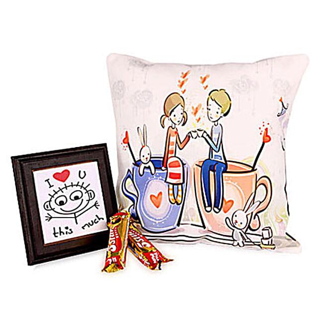 Amazing Print Cushion-12x12 inches cute couple printed cushion,5X5 inch table top,2 Cadbury 5 Star chocolates 24 grams each