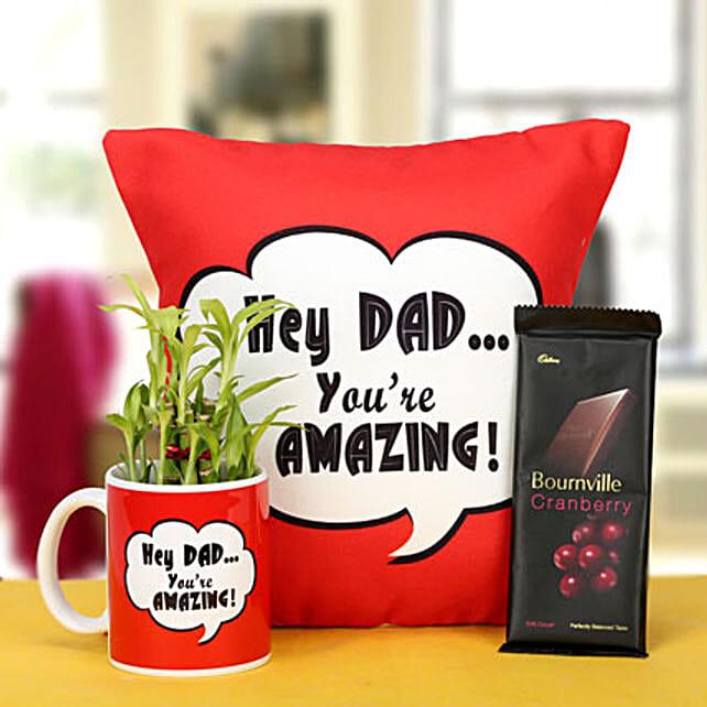 Combo of cushion, mug, lucky bamboo and chocolate combo for dad