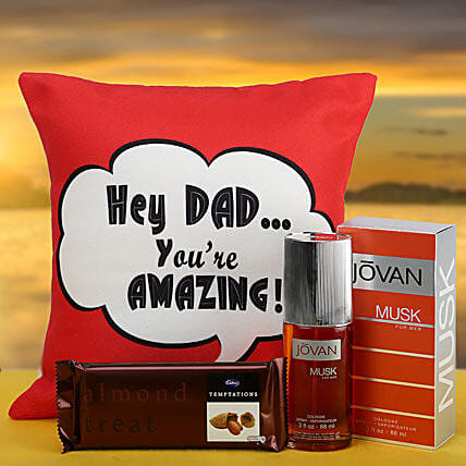 Gift hamper of cushion, chocolate and perfume for dad