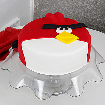 Angry Bird Fondant Black Forest Cake 2kg Eggless