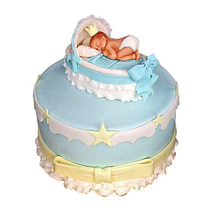 Baby In The Crib Fondant Cake 3kg Chocolate