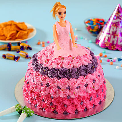 Barbie in Floral Roses Cake Butterscotch 2kg Eggless