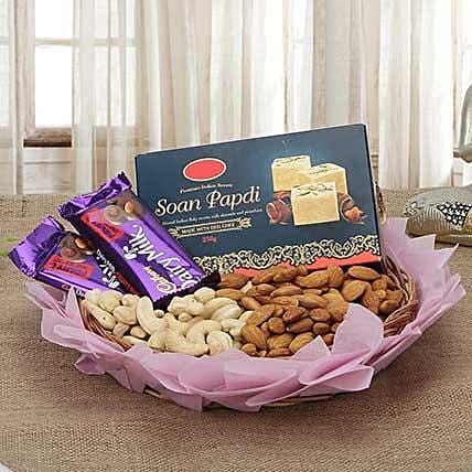 Diwali hamper of sweets, dry fruits and chocolates