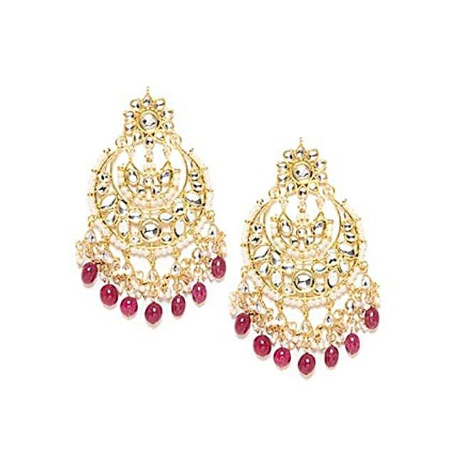 Big Kundan Earrings Gold & Red