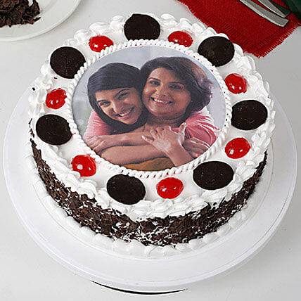 Black Forest Mothers Day Photo Cake 1kg eggless