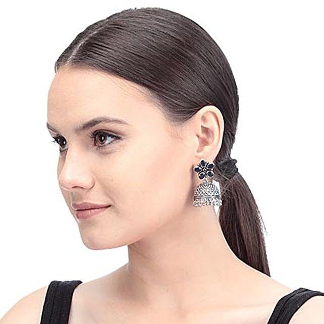 Blue Artificial Stone Designer Earrings