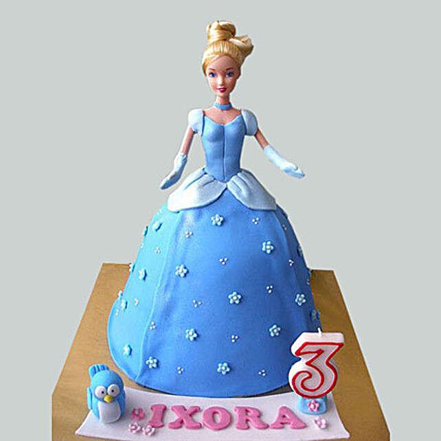 Blue Fondant Barbie Cake 3Kg Eggless Black Forest
