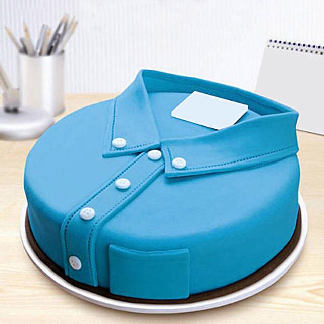 Blue Shirt Fondant Cake 2kg Butterscotch Eggless