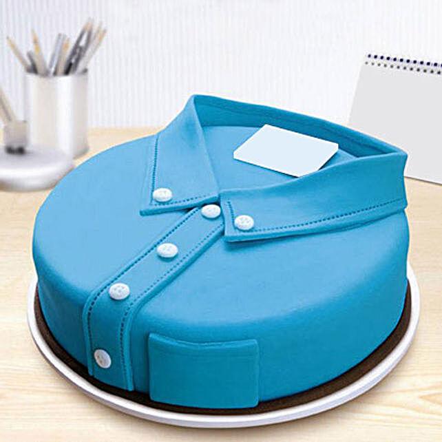 Blue Shirt Fondant Cake 3kg Chocolate Eggless