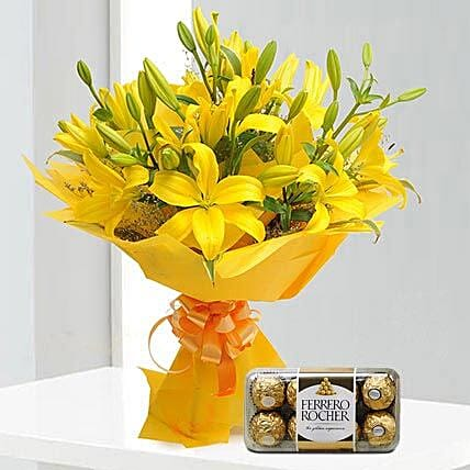 Bright Yellow Asiatic Lilies With Rocher
