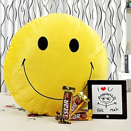Brighten Up Your Love With Smile-12x12 inches smiley face yellow cushion,5X5 inches love quote memento,3 Cadbury 5 Star chocolates 21.5 grams each