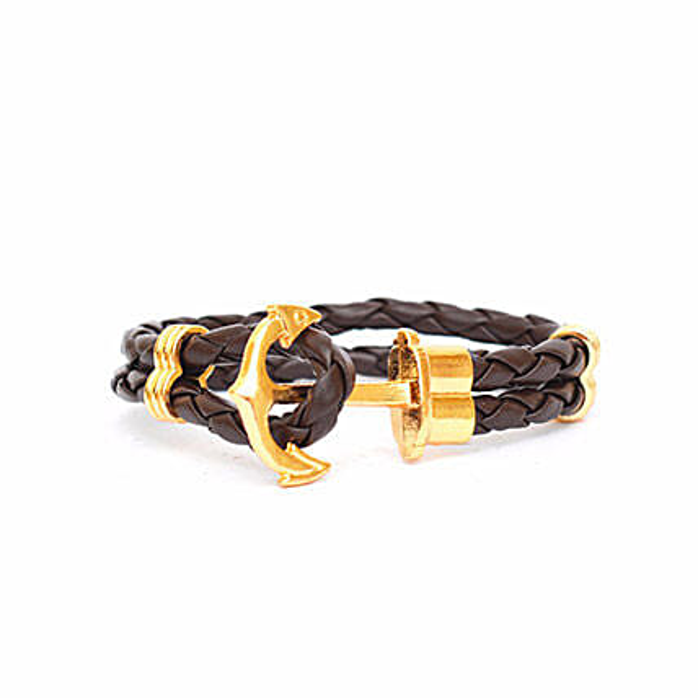 Brown anchor Braided Bracelet
